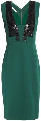 Antonio Berardi Sequin-embellished Two-tone Crepe Dress