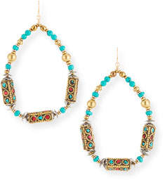 Devon Leigh Turquoise & Coral Teardrop Earrings