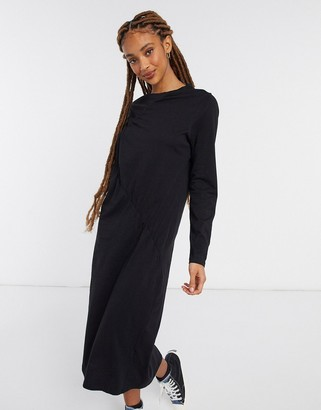 Monki Charla organic cotton long sleeve ruched front midi dress in black