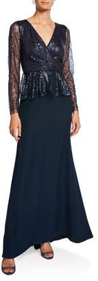 Tadashi Shoji Long-Sleeve Sequin Peplum Gown with Crepe Skirt