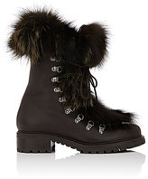 Barneys New York Women's Fur-Trimmed Leather Ankle Boots-Dark Brown
