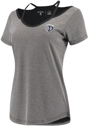 Antigua Women's Black/Gray Sporting Kansas City Hitter Cut Out T-Shirt