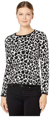 Vince Camuto Long Sleeve Animal Jacquard Pullover Sweater