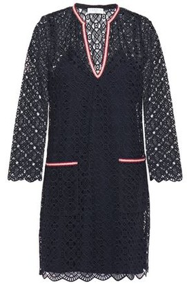 Sandro Ilina Braided Metallic-trimmed Scalloped Lace Mini Dress