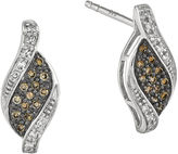 FINE JEWELRY 1/5 CT. T.W. White and Champagne Diamond Sterling Silver Marquise Stud Earrings
