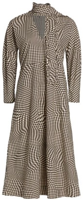 Ganni Houndstooth Tie-Neck Cotton Poplin Midi Dress