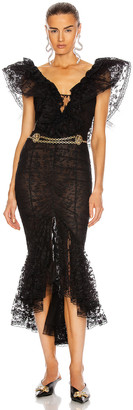 Alessandra Rich Lace V Neck Dress with Volants in Black | FWRD