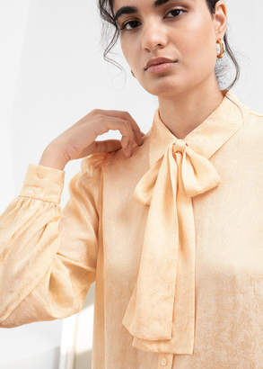 And other stories Jacquard Pussy Bow Blouse