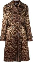 Dolce & Gabbana leopard print trench coat - women - Silk/Viscose - 40