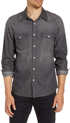 Frame Slim Fit Western Snap-Up Chambray Shirt