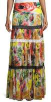 Fuzzi Floral-Print Tulle Maxi Skirt