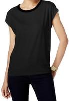 Michael Kors Black Women's Size XL Velvet Trim Crewneck Blouse