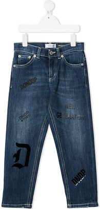 Dondup Kids Slogan-Print Denim Jeans