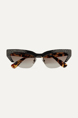 Miu Miu Cat-eye Crystal-embellished Acetate Mirrored Sunglasses - Black