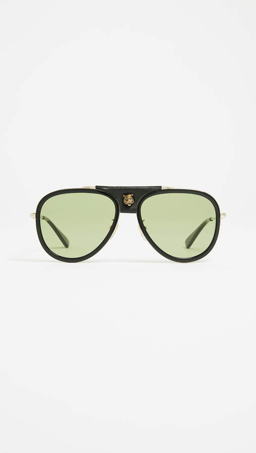 Gucci Web Block Leather Pilot Sunglasses