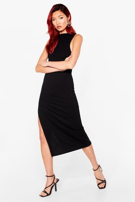 Nasty Gal Womens Tell Slit to My Face Scoop Back Midi Dress - Black - 4