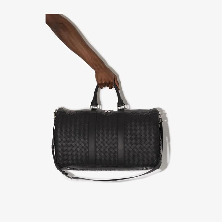 Bottega Veneta black Intrecciato leather holdall bag