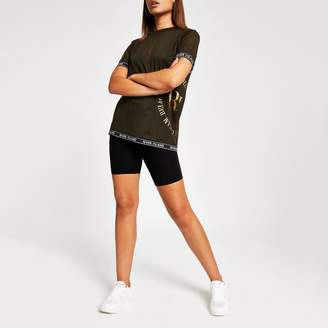 River Island Womens Khaki RI tape trim mesh T-shirt