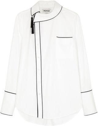 Monse White Tassel-embellished Stretch-cotton Shirt