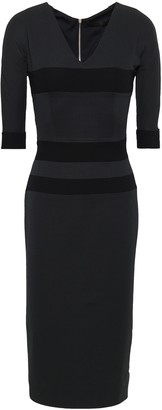 Victoria Beckham Striped Wool And Silk-blend Crepe Dress
