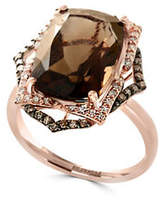 Effy 14K Rose Gold Smoky Quartz 0.31TCW Diamond and Brown Diamond Ring