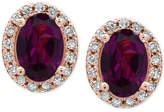 Effy Bordeaux Rhodolite Garnet (1-1/10 ct. t.w.) and Diamond (1/8 ct. t.w.) Stud Earrings in 14k Rose Gold