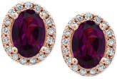 Effy EFFYandreg; Bordeaux Rhodolite Garnet (1-1/10 ct. t.w.) and Diamond (1/8 ct. t.w.) Stud Earrings in 14k Rose Gold