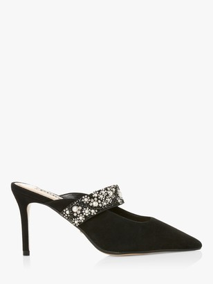 Dune Deserve Suede Mid Stiletto Heel Court Shoes, Black