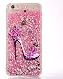 Urberry Iphone 7 Case, Pink Running Glitter Cover, Fashion High-heel Design Flowing Liquid Floating Luxury Bling Glitter Sparkle Hard Case for 4.7 inch iPhone 7 with a Screen Protector