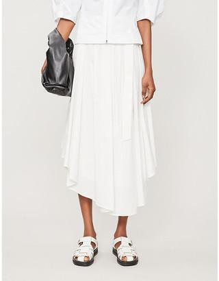 Brunello Cucinelli Asymmetric high-waisted cotton midi skirt