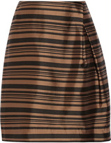 Raoul Tulip striped silk and cotton-blend skirt