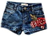 MAE LI ROSE Denim Shorts Rose-Embroidered