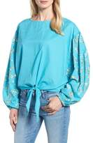 Kas Coline Front Tie Embroidered Sleeve Blouse