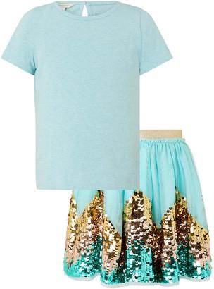 Monsoon Disco Freya T-shirt and Sequin Skirt Set Blue