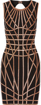 Herve Leger Romee Metallic-trimmed Stretch Jacquard-knit Dress - Black