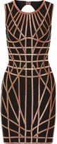 Herve Leger Romee Metallic-trimmed Stretch Jacquard-knit Dress - Black