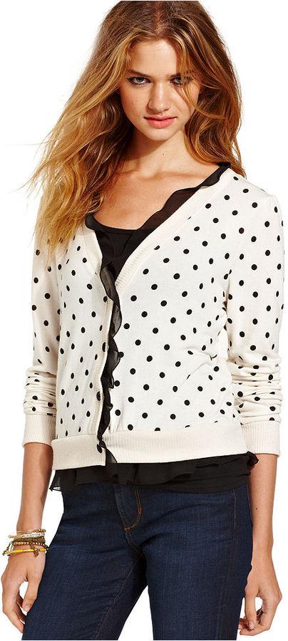 Fresh Brewed Juniors Sweater, Long Sleeve Polka-Dot-Print Ruffled Cardigan