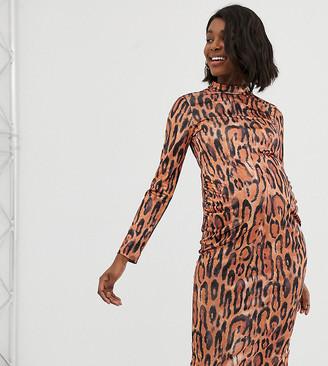 ASOS DESIGN Maternity exclusive leopard print bodycon dress