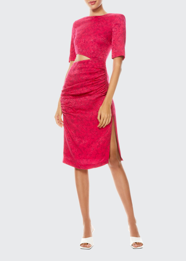 Alice + Olivia Stella Cutout Ruched Midi Cocktail Dress