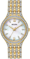 Bulova Women's Crystal Accented Gold-Tone Stainless Steel Bracelet Watch 32mm 98L234