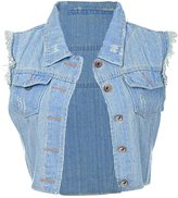 Anna-Kaci Wash Denim Distressed Frayed Button Up Sleeveless Crop Vest