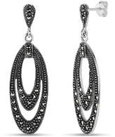 Swarovski Fine Jewelry Sterling Silver Double Layered Marquise Shaped Drop Earrings featuring Marcasite