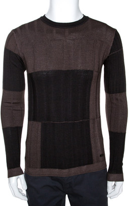Armani Collezioni Black & Brown Wool Washed Out Effect Sweater M