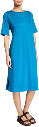Eileen Fisher Round-Neck Jersey Dress with Side Slits