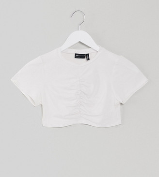 ASOS DESIGN Petite crop top with ruched front in white