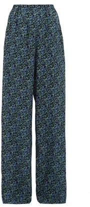 Balenciaga Floral Print Silk Crepe Wide Leg Trousers - Womens - Black Blue