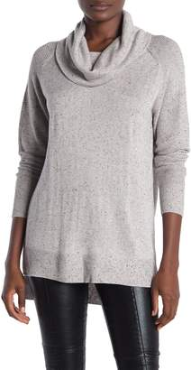 Magaschoni M Cowl Neck Rib Knit High/Low Sweater