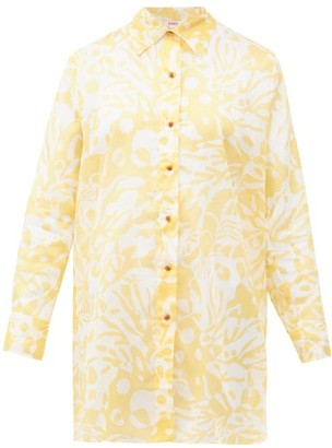 Eres Turtle Coralsand-print Cotton Shirt Cover Up - Yellow