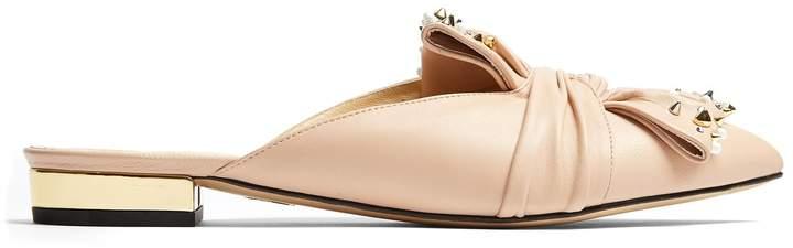 Charlotte Olympia Alexandra embellished-bow leather backless flats