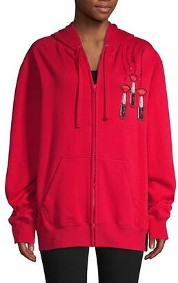 Valentino Logo Embroidery Zip-Up Hoodie